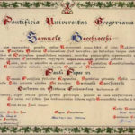 Bacchiocchi – images of his diploma and medal