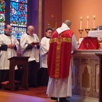 Tridentine Mass celebrated on Palm Sunday in the chapel of Cathedral of the Holy Cross in Boston. Photo by John Stephen Dwyer