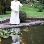 Pope Benedict feeding the fish at Castel Gandolfo