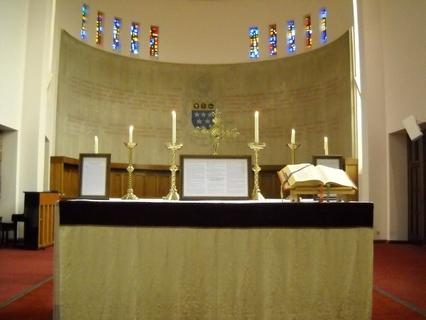 Altar prepared for Mass, Latin Mass training course, 2013, Ratcliffe College