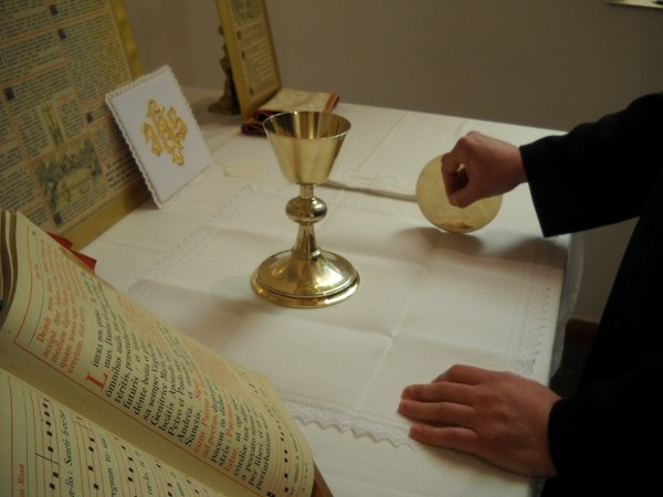 Training at the altar, Latin Mass training course, 2013, Ratcliffe College