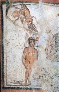 Baptism - Fresco on the catacomb of Saints Marcellinus and Peter, Via Labicana, Rome, Italy