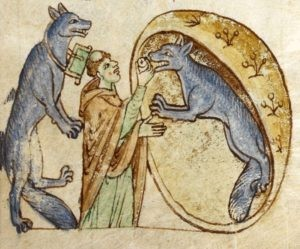 Priest giving Communion to werewolves