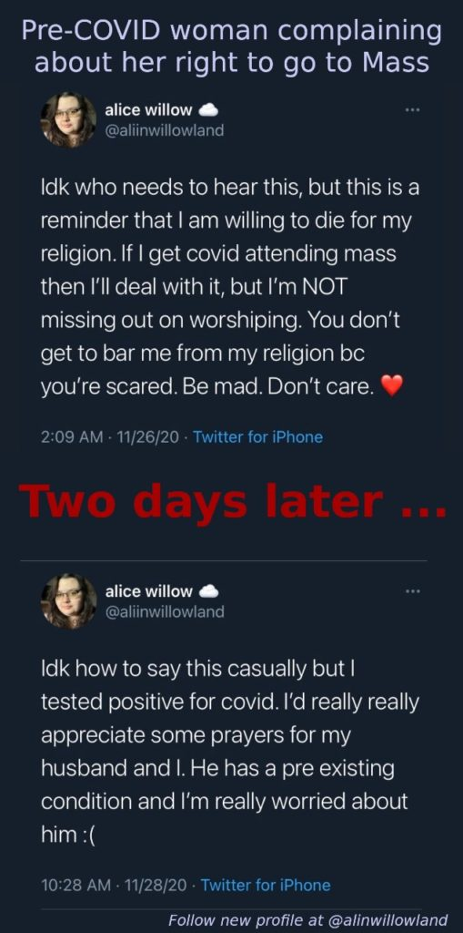 Pre-COVID woman complaining then 2 days later got COVID