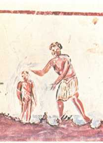 Early Christian painting of a Baptism - Saint Calixte Catacomb - 3rd century