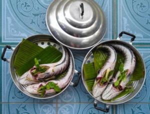 Fish stuffed with Thai herbs