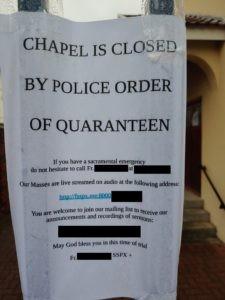 SSPX chapel quarantine notice, 25 March 2020